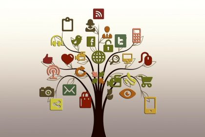 Downloadable Social Media Cheat Sheet, represented by a tree with social media icons as fruit
