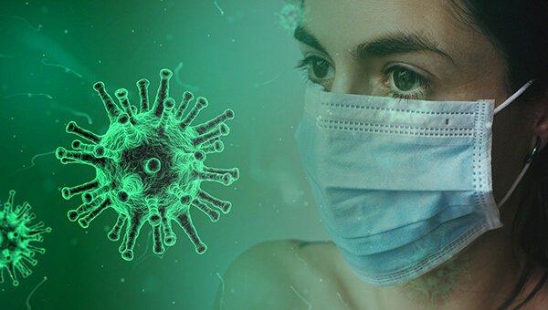 Coronavirus and woman in mask
