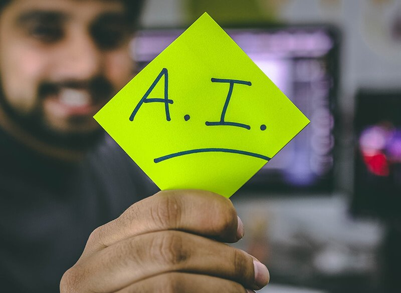 Recruiting With AI - Postit note that say's A.I.