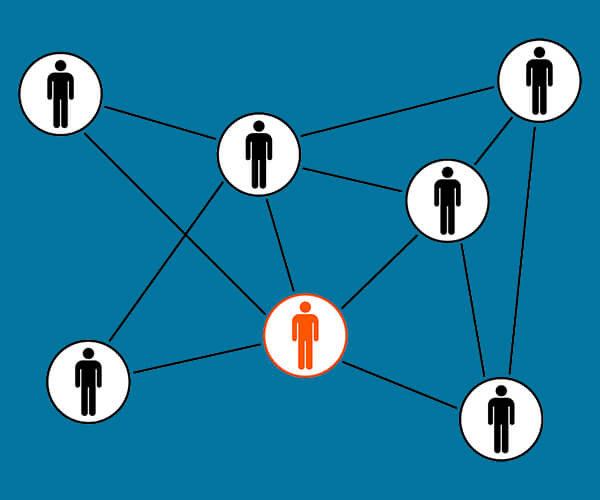 Network of people representing the network element of our IT headhunting services