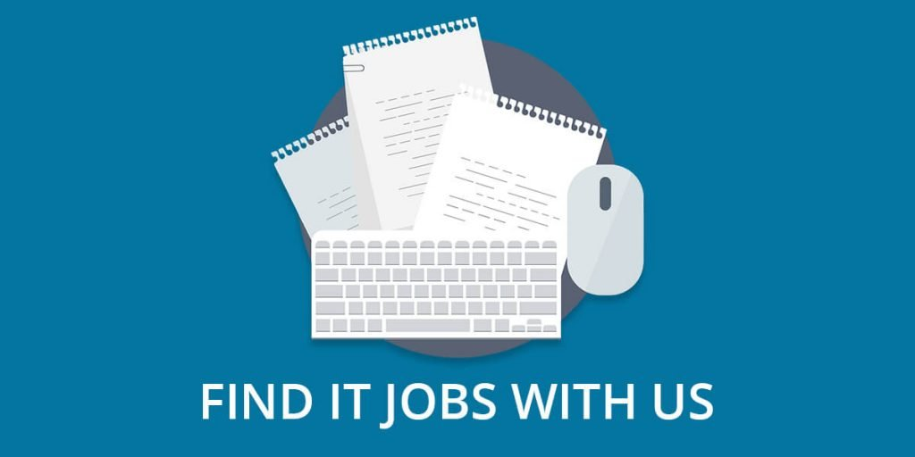 'Find IT Jobs' header with documents, papers and mouse