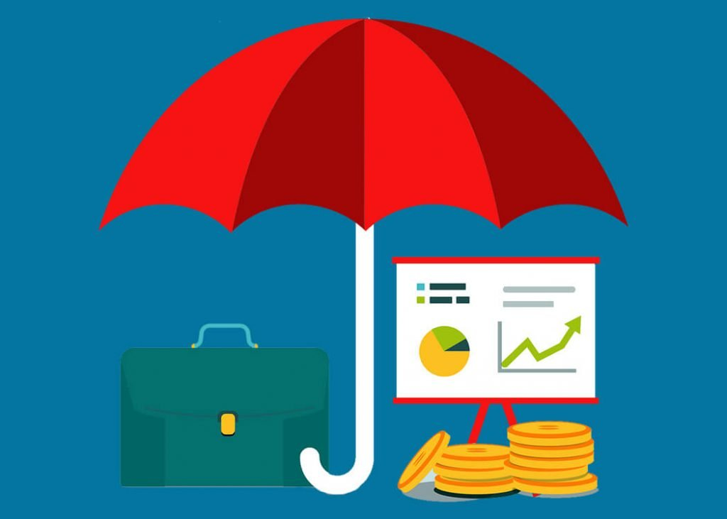 Umbrella, charts, coins and briefcase - IT contractors advice image