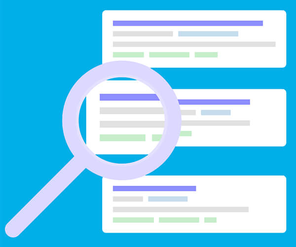 Magnifying glass over listings representing the job site search element of our IT headhunting services