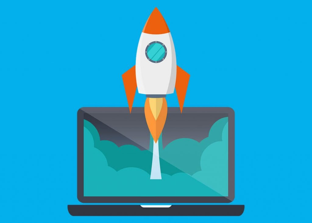 Rocket launching from laptop screen - it job search advice image